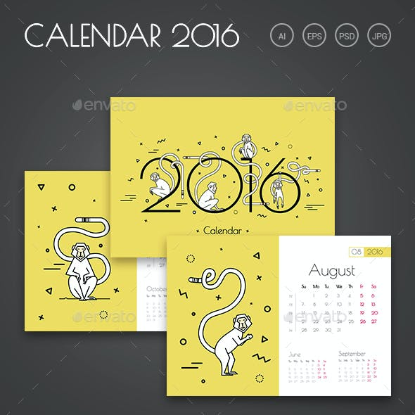 2016 Calendar with Monkeys