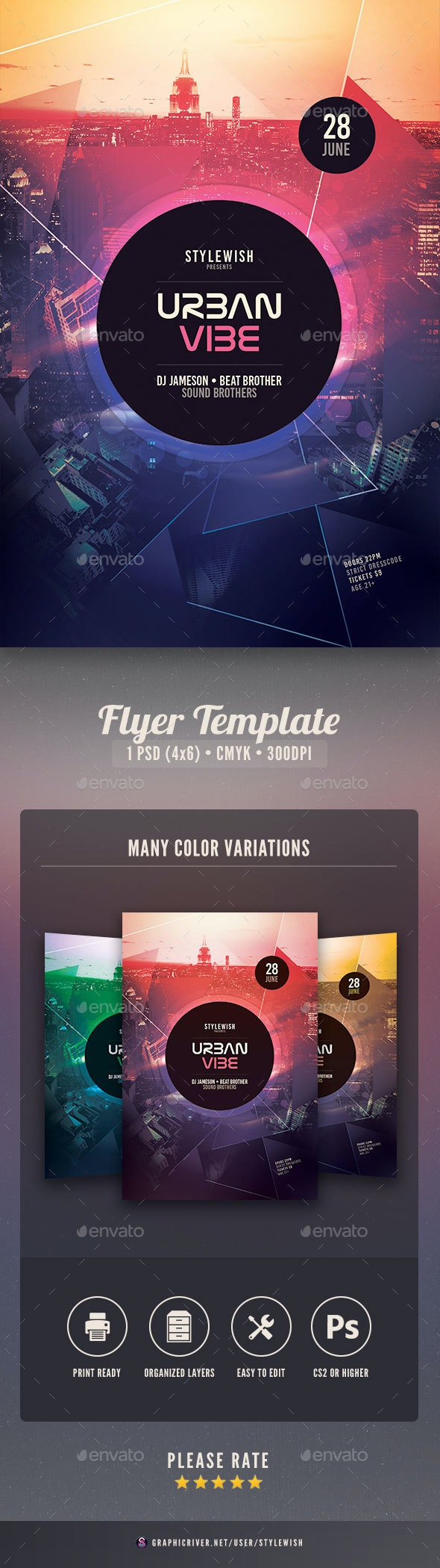 Urban Vibe Flyer - Clubs & Parties Events