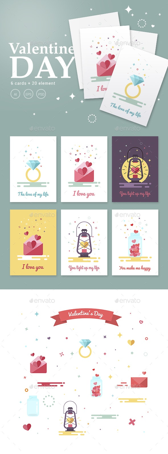 Valentine's Day flat card - Holiday Greeting Cards