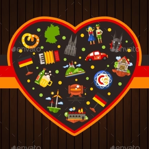 Germany Travel Heart Postcard