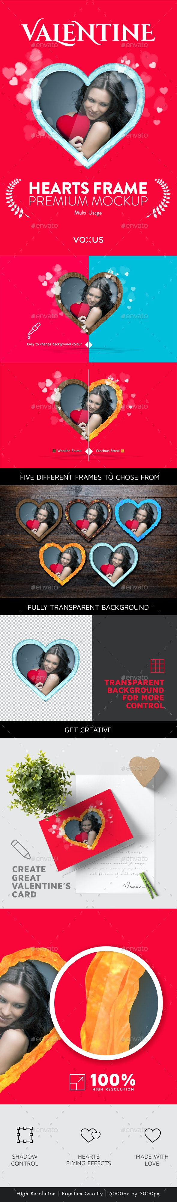 Valentine's Edition - Heart Frame Mockup - Miscellaneous Backgrounds