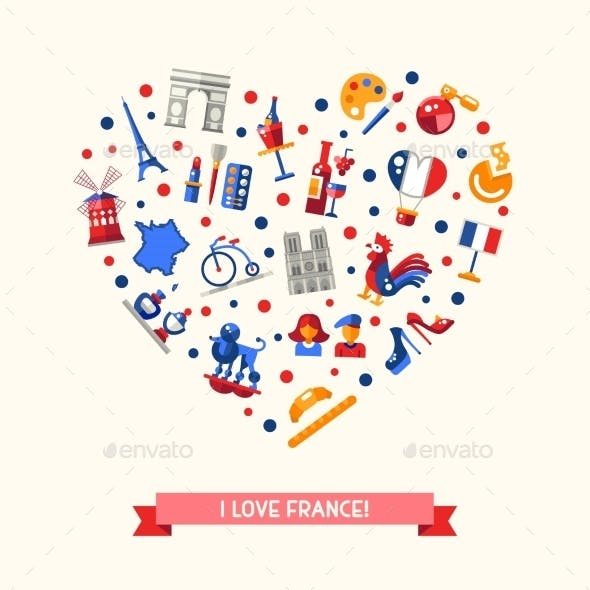 France Travel Icons Heart Postcard