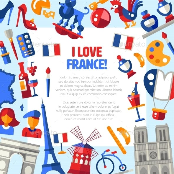 France Travel Icons Circle Postcard