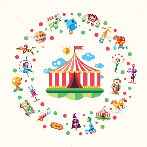 Circus, Carnival Icons And Infographic Elements
