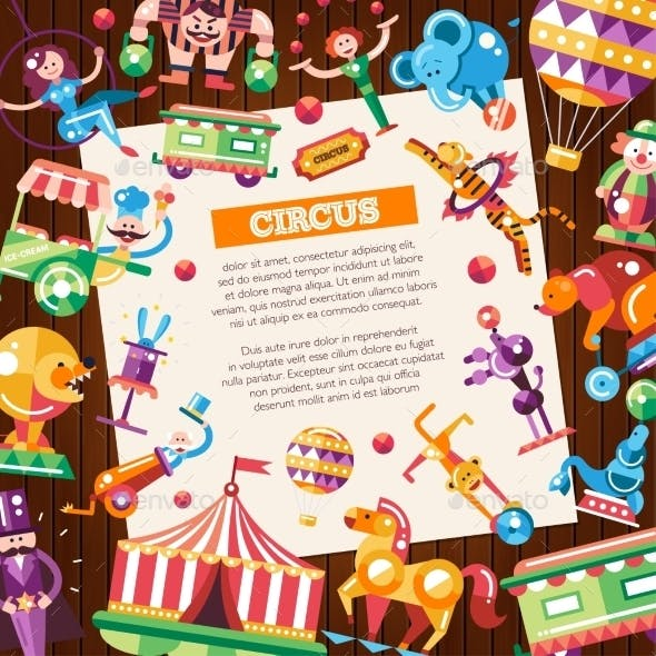 Circus & Carnival Icons Postcard