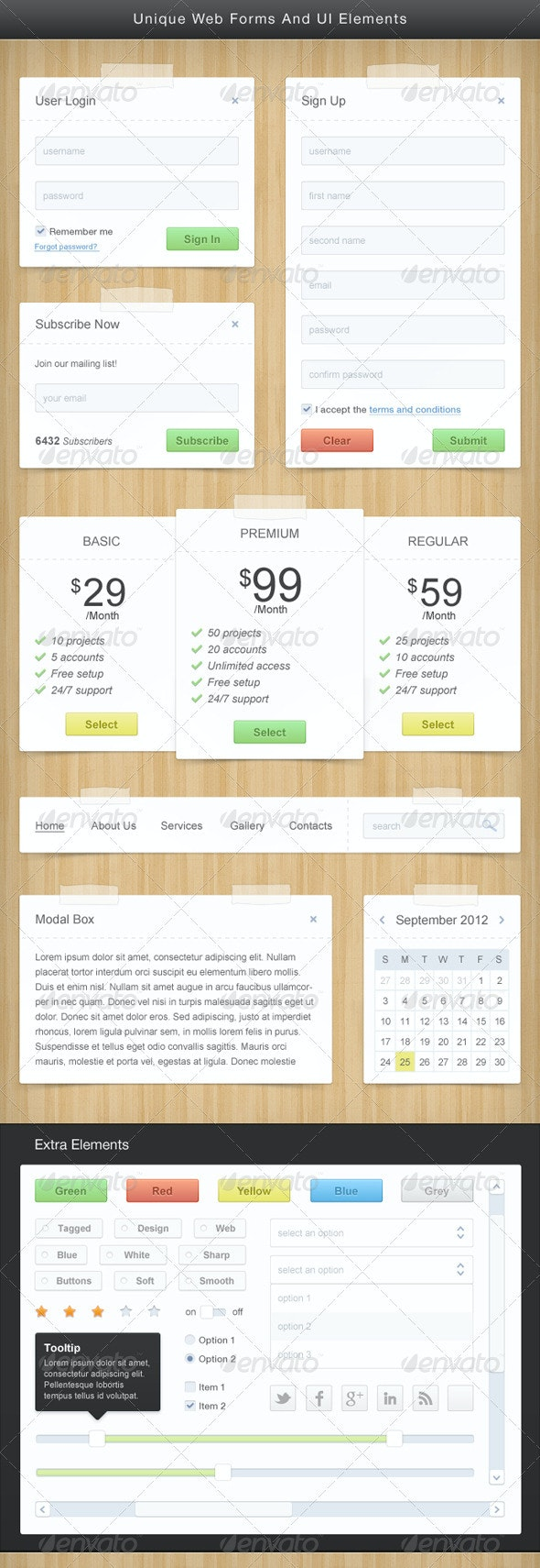 Unique Web Forms And UI Elements PSD - Miscellaneous Web Elements