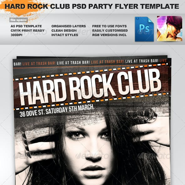 Indiekids - Hard Rock Indie Club PSD Party Flyer