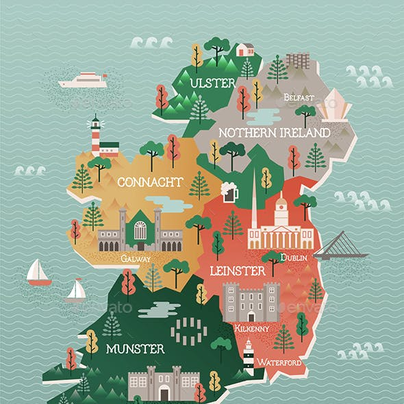 Travel Map of Ireland with Landmarks and Cities