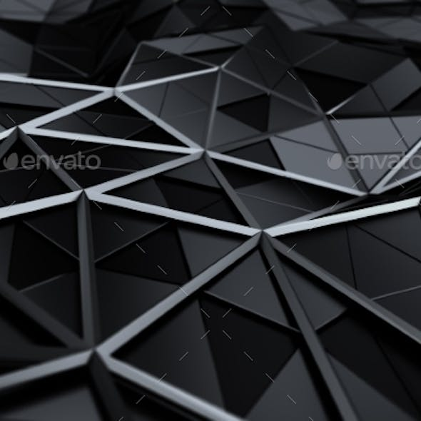 Abstract 3D Rendering Of Low Poly Surface.