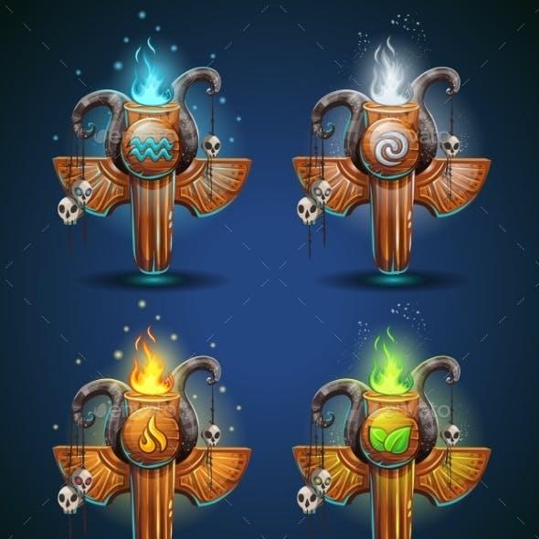 Set Shaman Totems - Symbols Of The Four Elements