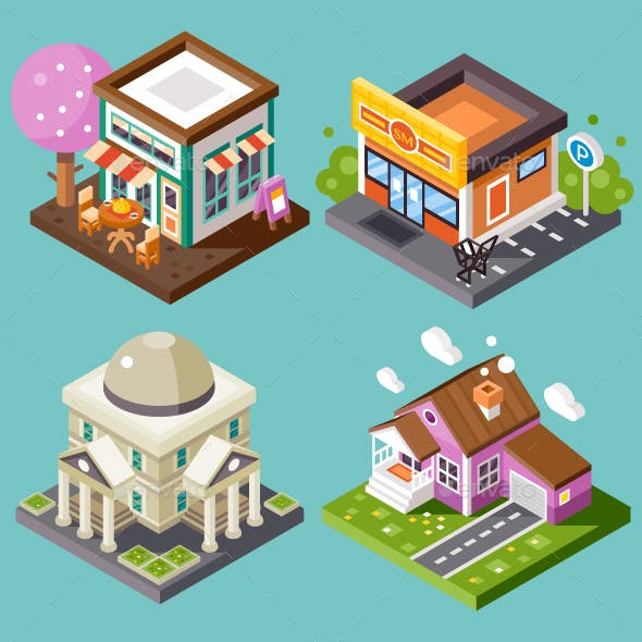 Cute Isometric City Places.