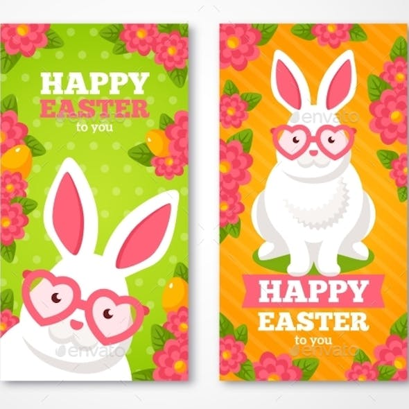 Easter Banners With Flat White Rabbit