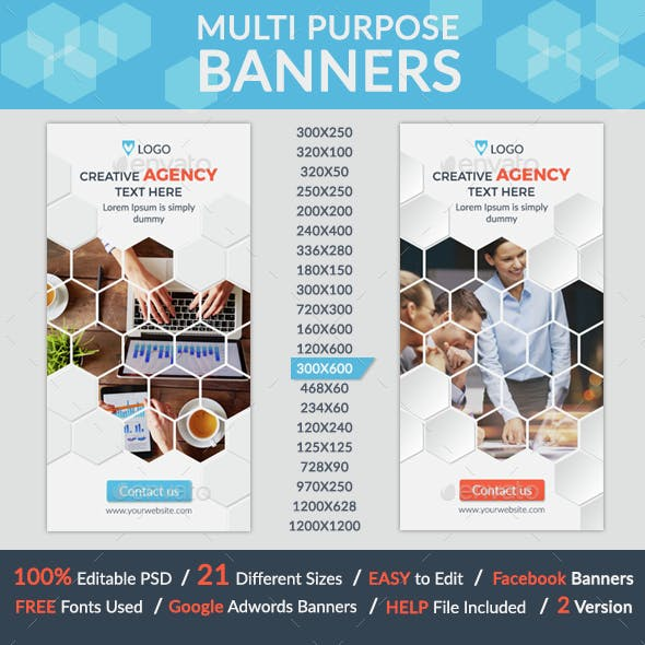 Multi Purpose Banners + 2facebook banners