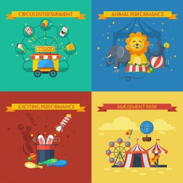 Circus Flat Set - Animals Characters