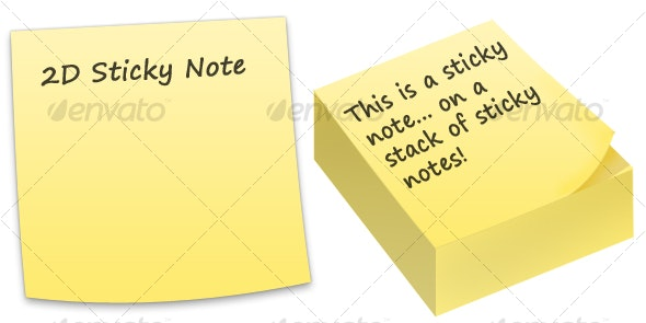 Sticky Notes [5 Colours + Singular and in Stack] - Objects Illustrations