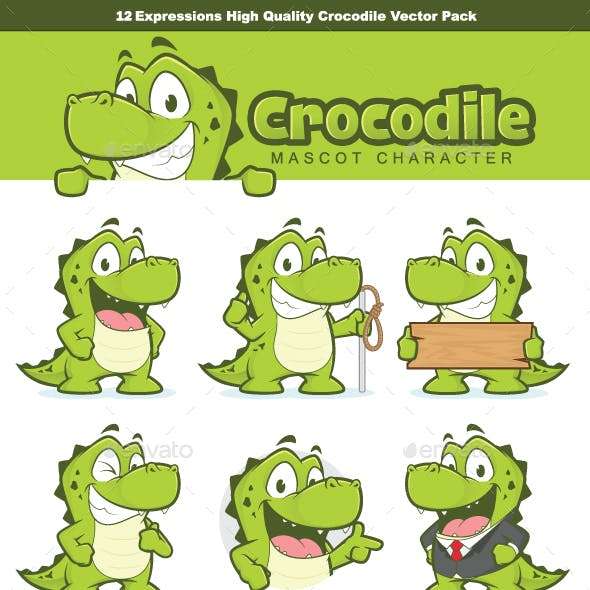 Crocodile or Alligator Mascot Character