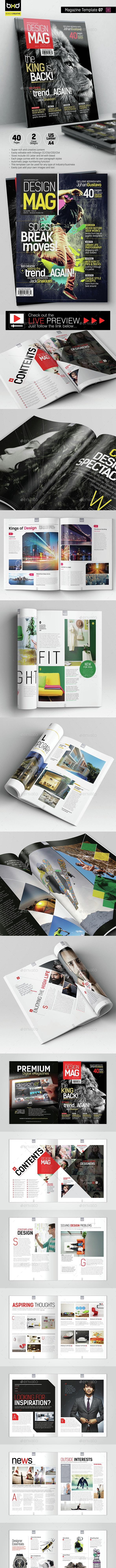 Magazine Template - InDesign 40 Page Layout V7 - Magazines Print Templates