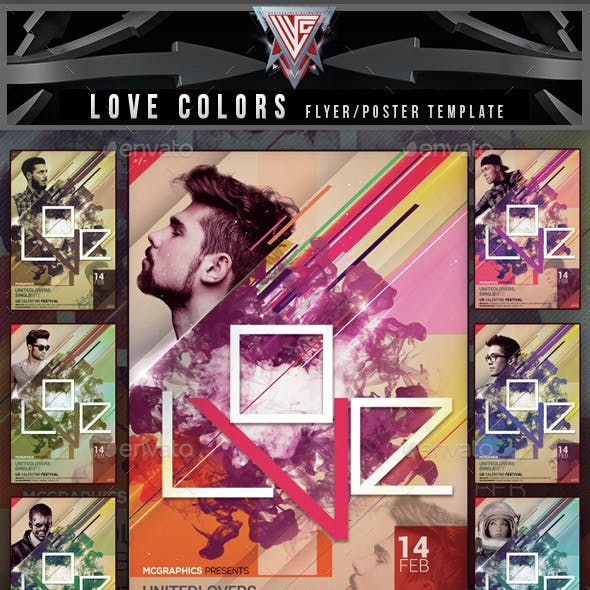 Valentine Love Colors Flyer Template