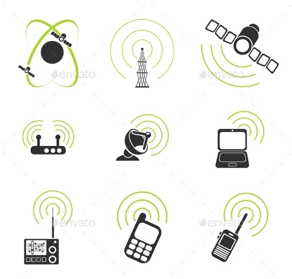 Radio Signal Simple Vector Icons - Icons