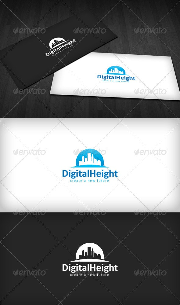 Digital Height Logo - Buildings Logo Templates