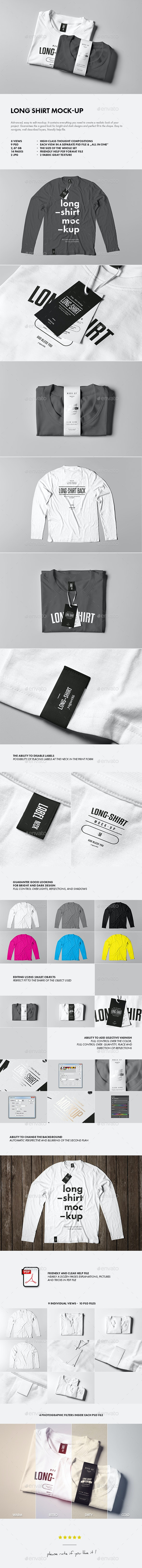 Long Shirt Mock-up - T-shirts Apparel