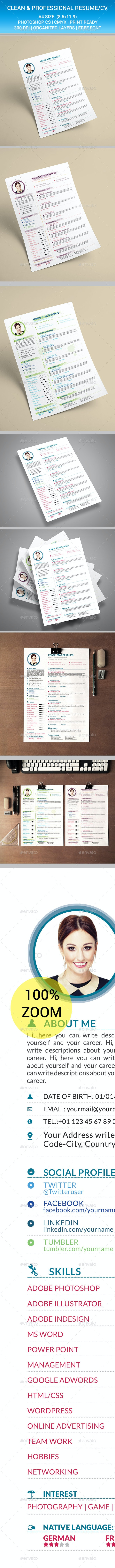 Clean and Professional Resume CV  - Resumes Stationery