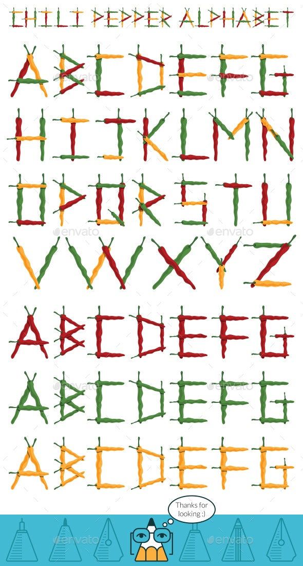 Chili Pepper Alphabet - Man-made Objects Objects