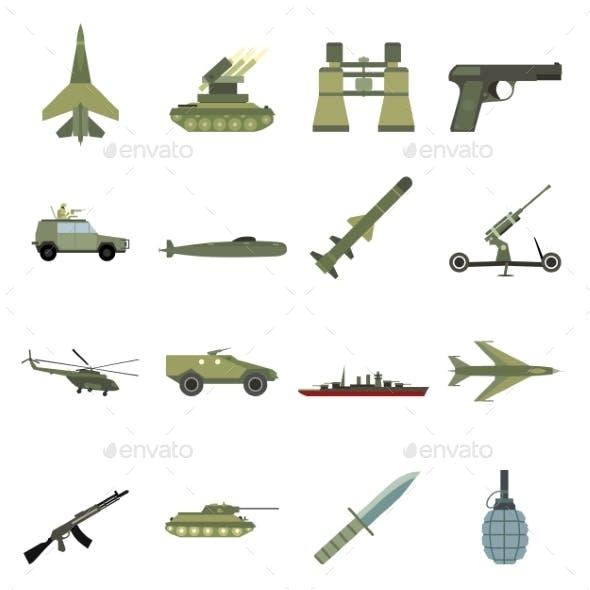 16 Weapon Flat Icons Set