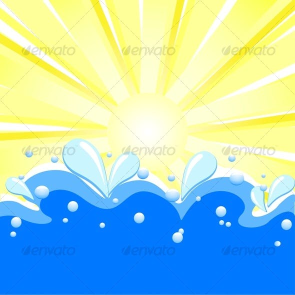summer background with sun rays, waves