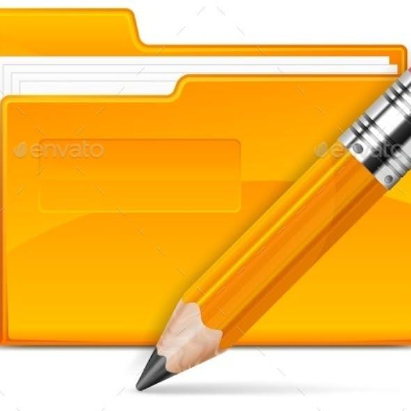 Folder and Pencil