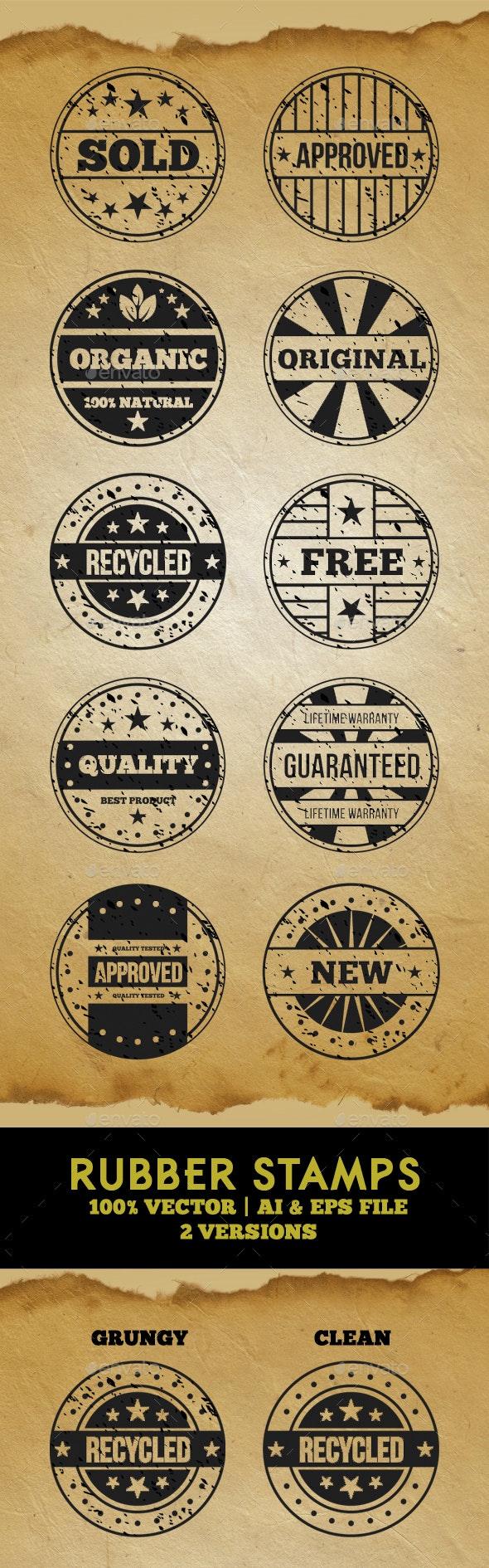 Rubber Stamps - Vector Set - Badges & Stickers Web Elements