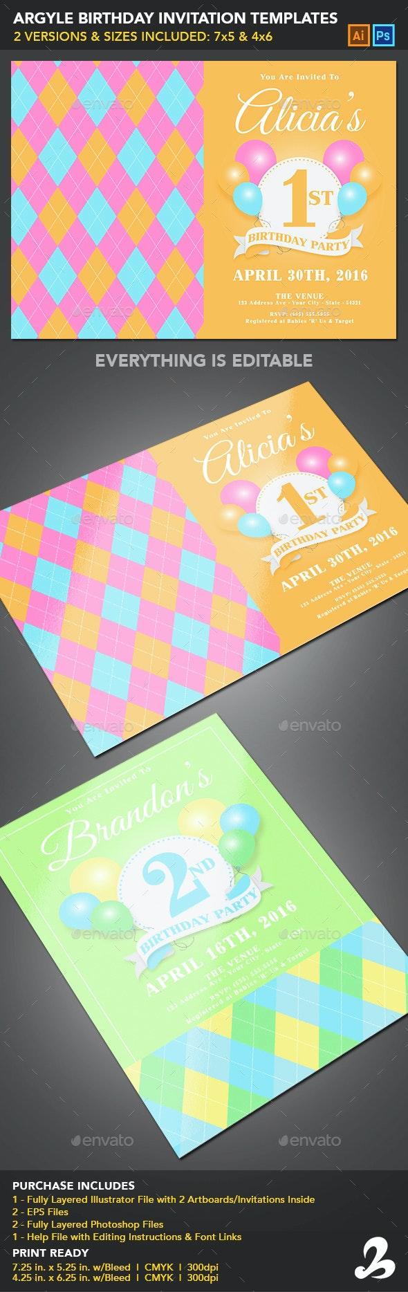 Birthday Invitation Templates - Argyle - Invitations Cards & Invites