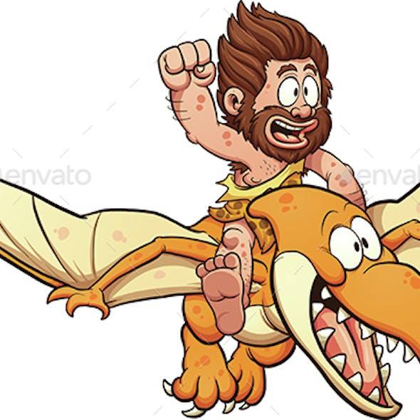 Caveman Riding a Pterodactyl