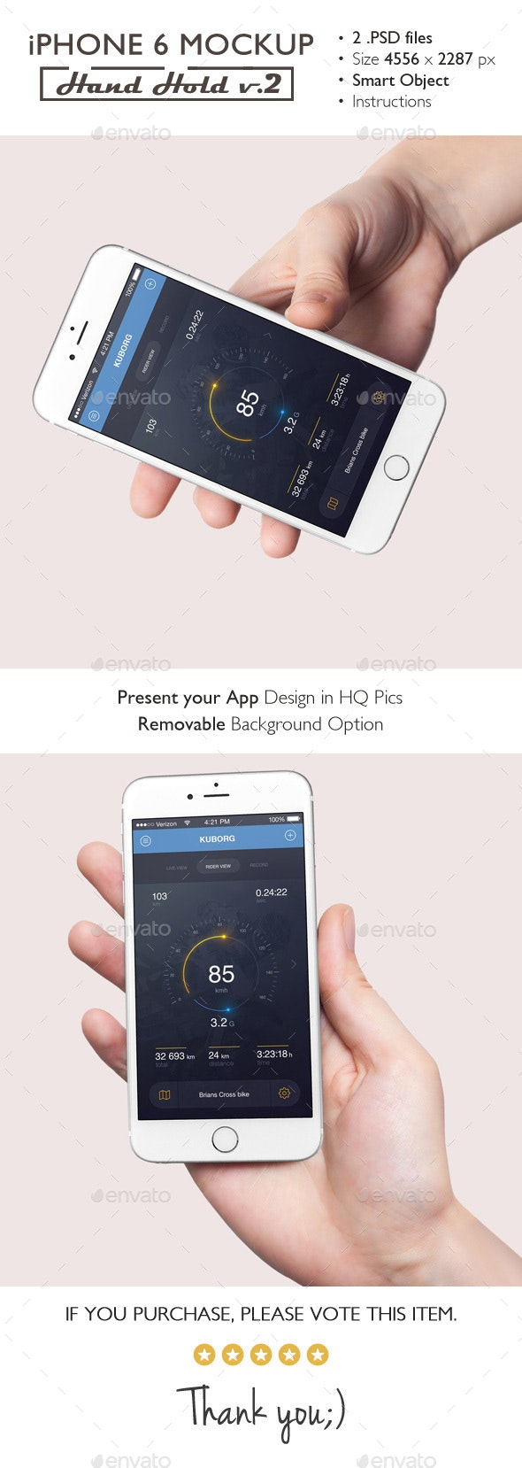 iPhone 6 Mockup Hand Hold v.2 - Mobile Displays