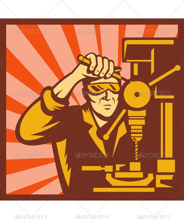 Factory Manufacturing Worker Drilling Retro - People Characters