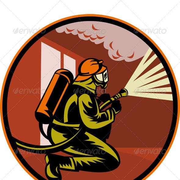 Fireman Firefighter Holding Aiming Fire Hose