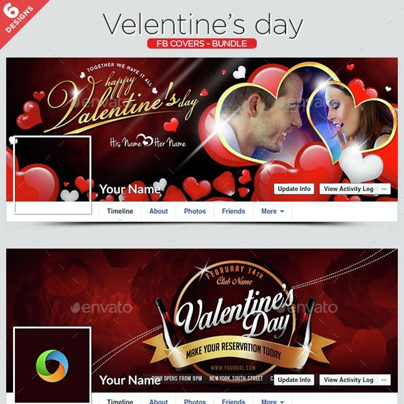 Valentine's Day Facebook Cover Bundle - 6 Designs