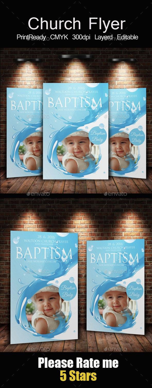 Baptism Sunday Church Flyer Invite Templates - Church Flyers