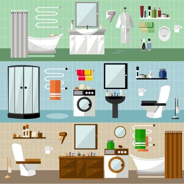 Bathroom Interior With Furniture. Vector