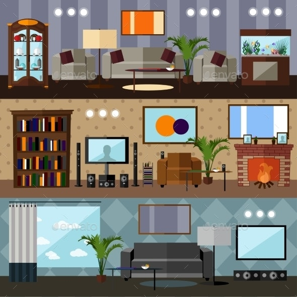 Living Room Interior With Furniture. Concept - Objects Vectors