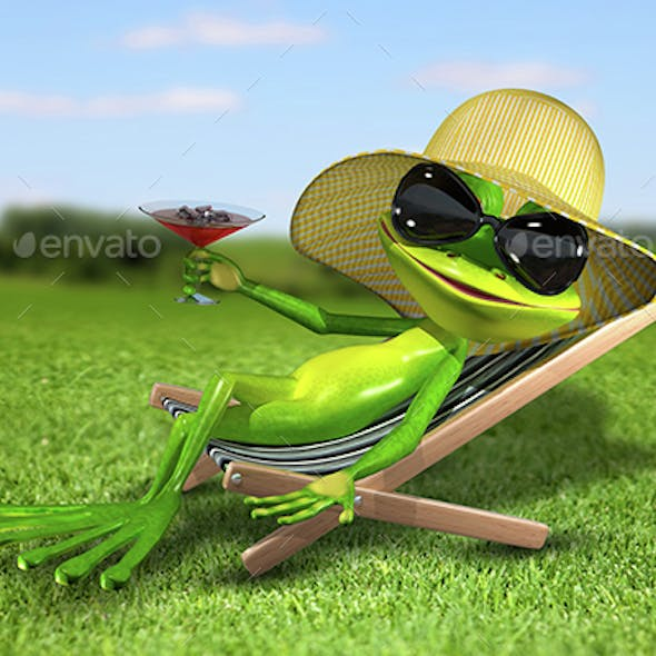 Frog in a deck chair on the grass