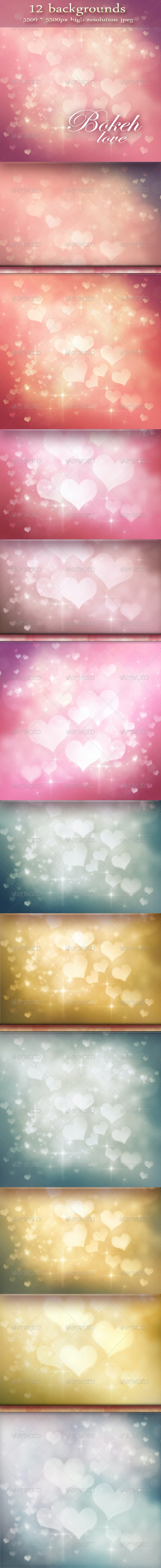 Festive Bokeh Backgrounds - Valentine's Day - Backgrounds Graphics