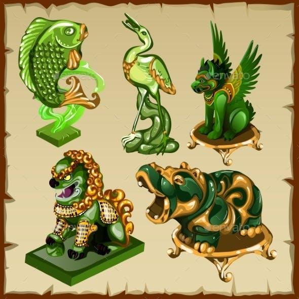 Five Various Animal Figurines Made Of Malachite
