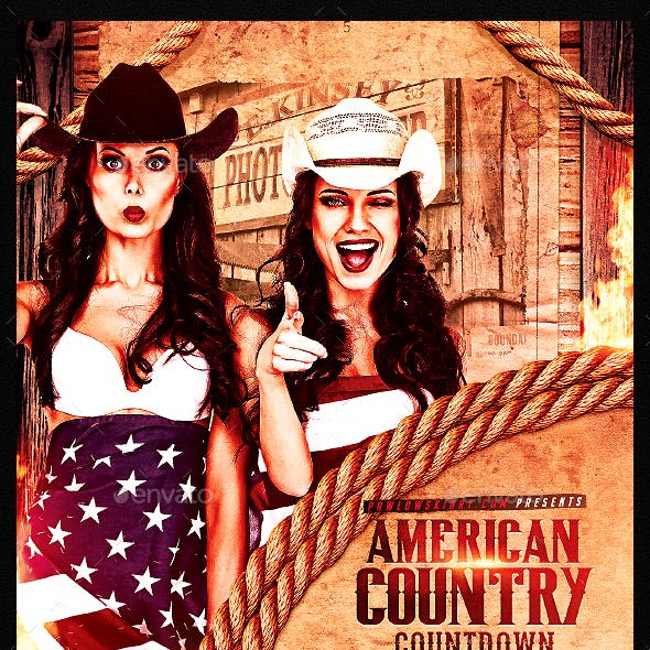 American Country Countdown Event Flyer Template