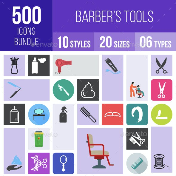 500 Barber's Tools Icons Bundle
