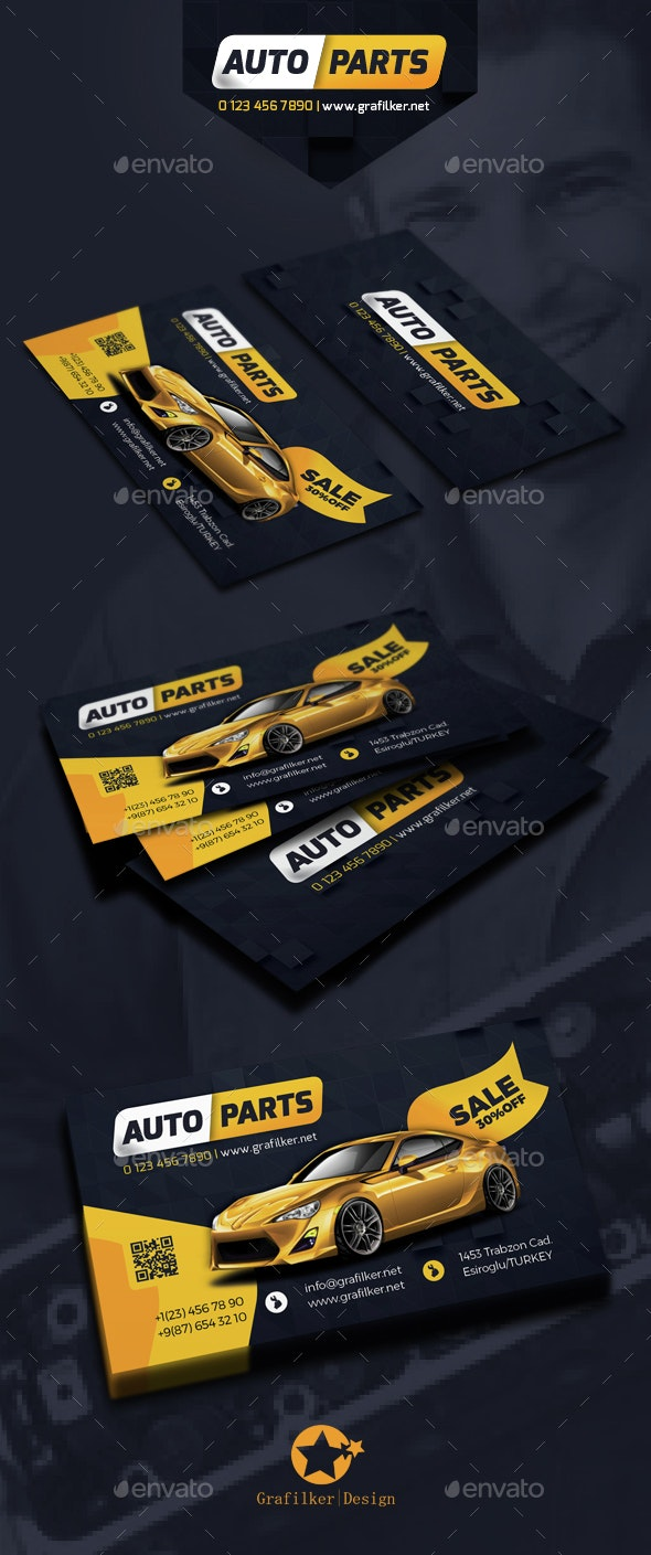 Auto Spare Part Business Card Templates - Corporate Business Cards