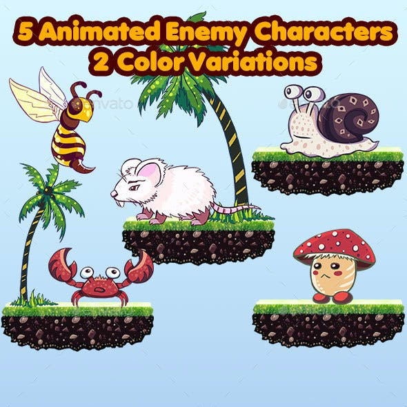 5 Animated Enemy Characters - 2 Color Variations