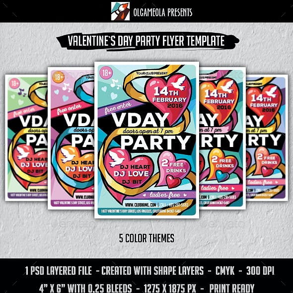 Happy Valentines Day Party Flyer Template. Vday Poster with Hearts and Doves