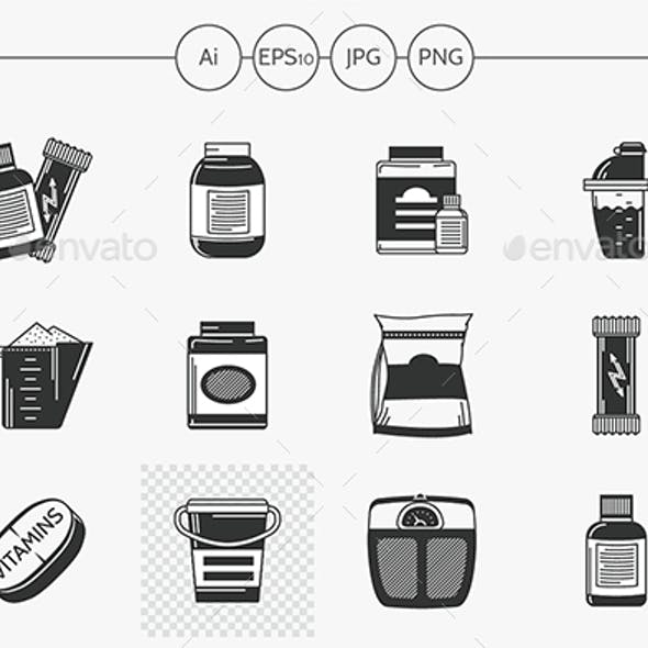 Black vector icons for sport supplements