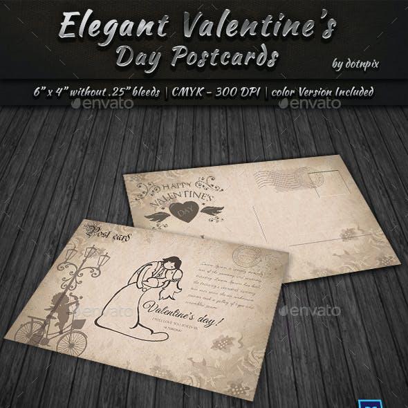 Elegant Valentine Day Postcard